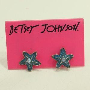 Betsey Johnson Starfish Stud Earrings Blue earring